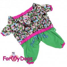 Комбинезон-дождевик ForMyDogs зеленый камуфляж для девочки с капюшоном