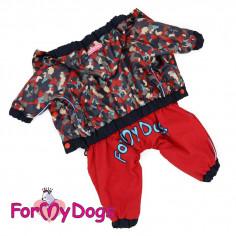 Комбинезон-дождевик ForMyDogs черно-красный камуфляж для мальчика с капюшоном
